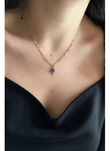 My Joyas Design Mavi Opal Taşlı Kuzey Yıldızı Kolye Altın